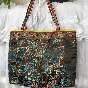 Indian silk embroidered floral & paisley designed handmade tote